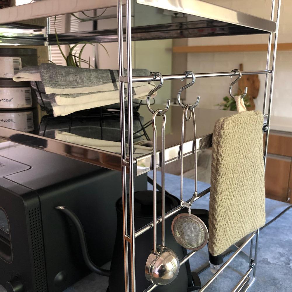 ダブルフレーム ステンレス棚 トースターラック 2段 45cm