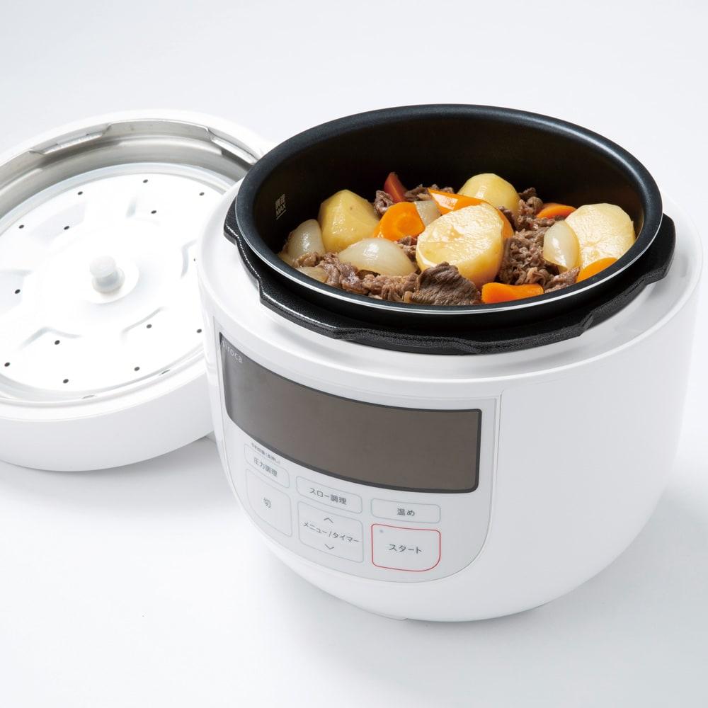siroca/シロカ ハイブリッド 電気圧力鍋 4L(容量2.6L)SP-4D151 ディノス特別セット 保温や温め直しもできます。