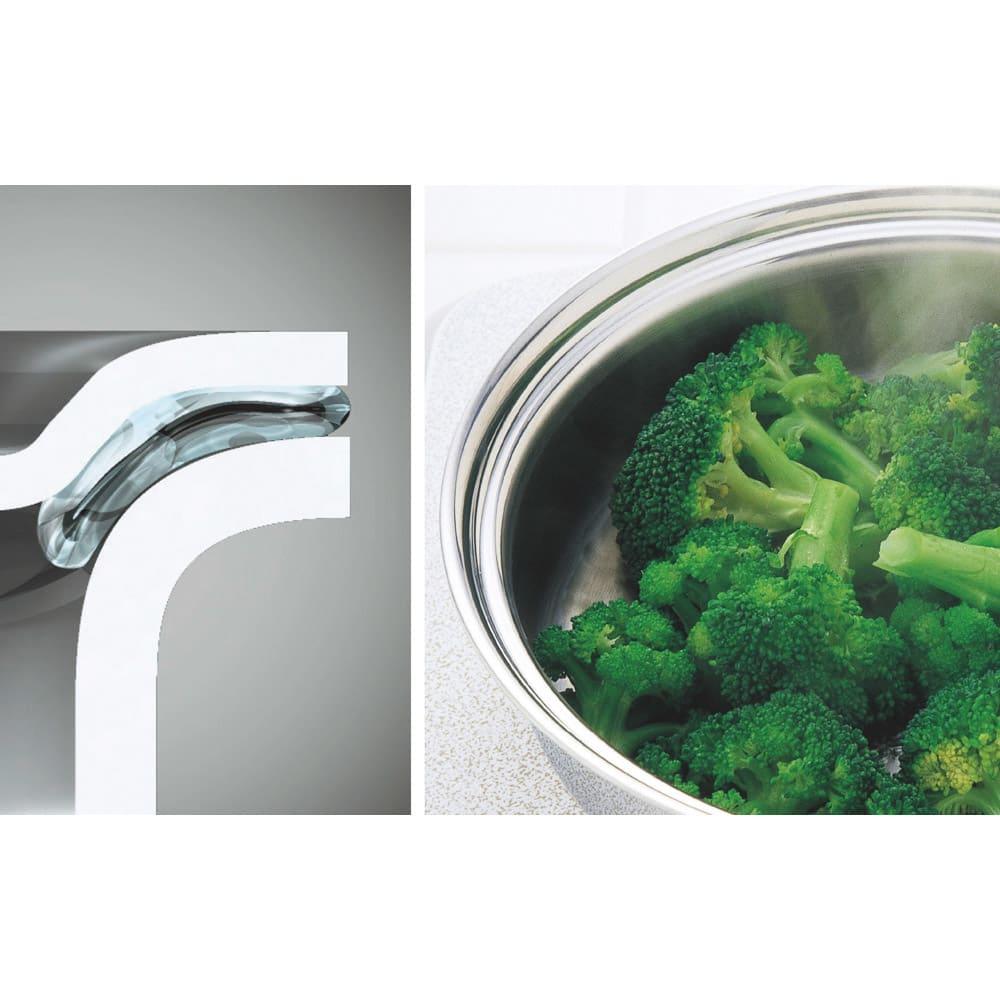 vitacraft/ビタクラフト コロラド4点セット 片手鍋+両手鍋(浅型)+両手鍋(深型)+パンチングザル フタと本体が密着することで、熱や水分が逃げにくく、無水・無油調理が可能に。