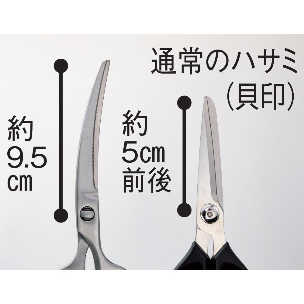 鍛造オールステンレス製カーブキッチンバサミ カーブした長い刃先が切りやすさの秘密。