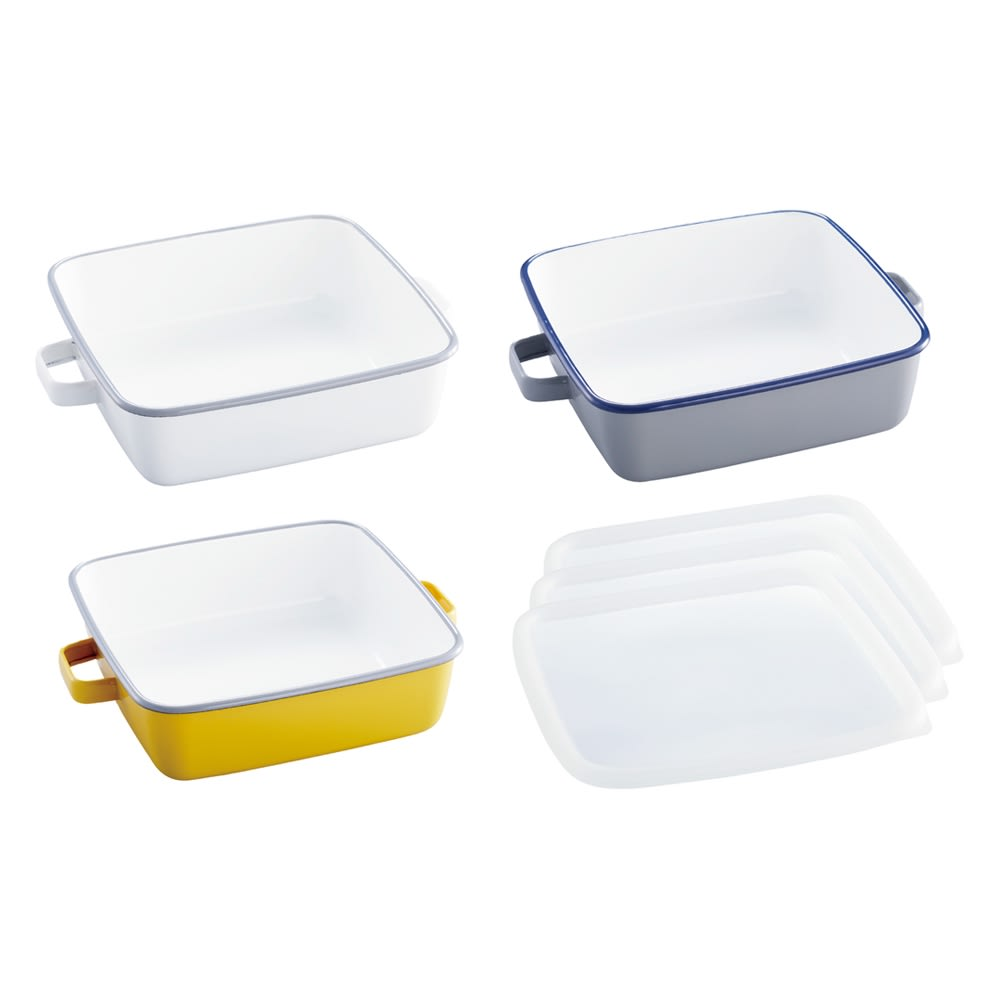調理もできるホーロー容器 色が選べる2個組 スクエア 左から(ア)ホワイト (イ)イエロー (ウ)グレー フタ付き