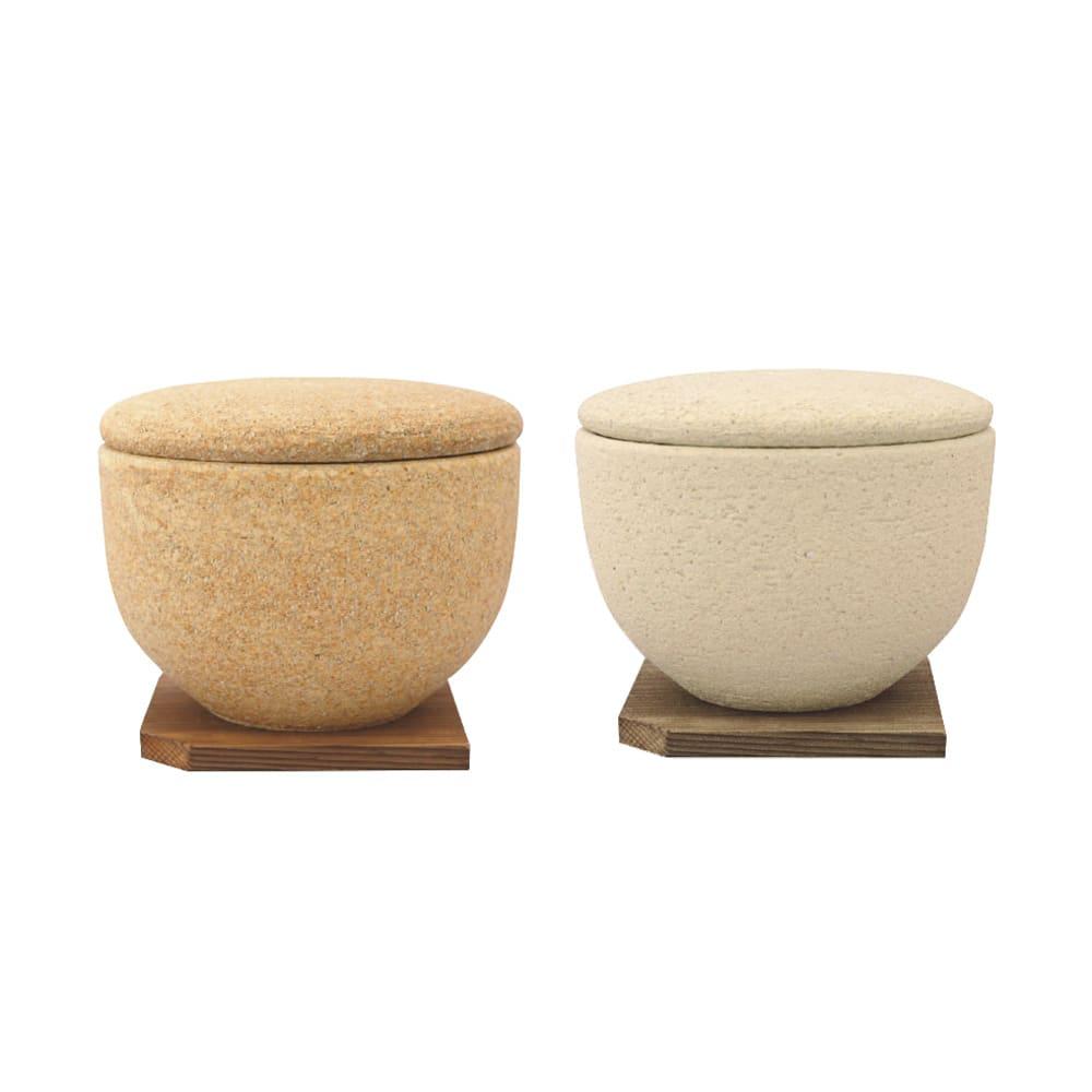 伊賀焼長谷園 陶器のおひつ陶珍 1合用 左から(ア)黄瀬戸 (イ)粉引