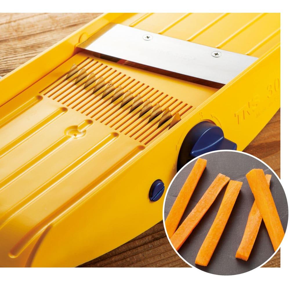 32種類のカットが可能なドイツ製万能キッチンスライサー TNS3000 スティック野菜もスライサーまかせ。