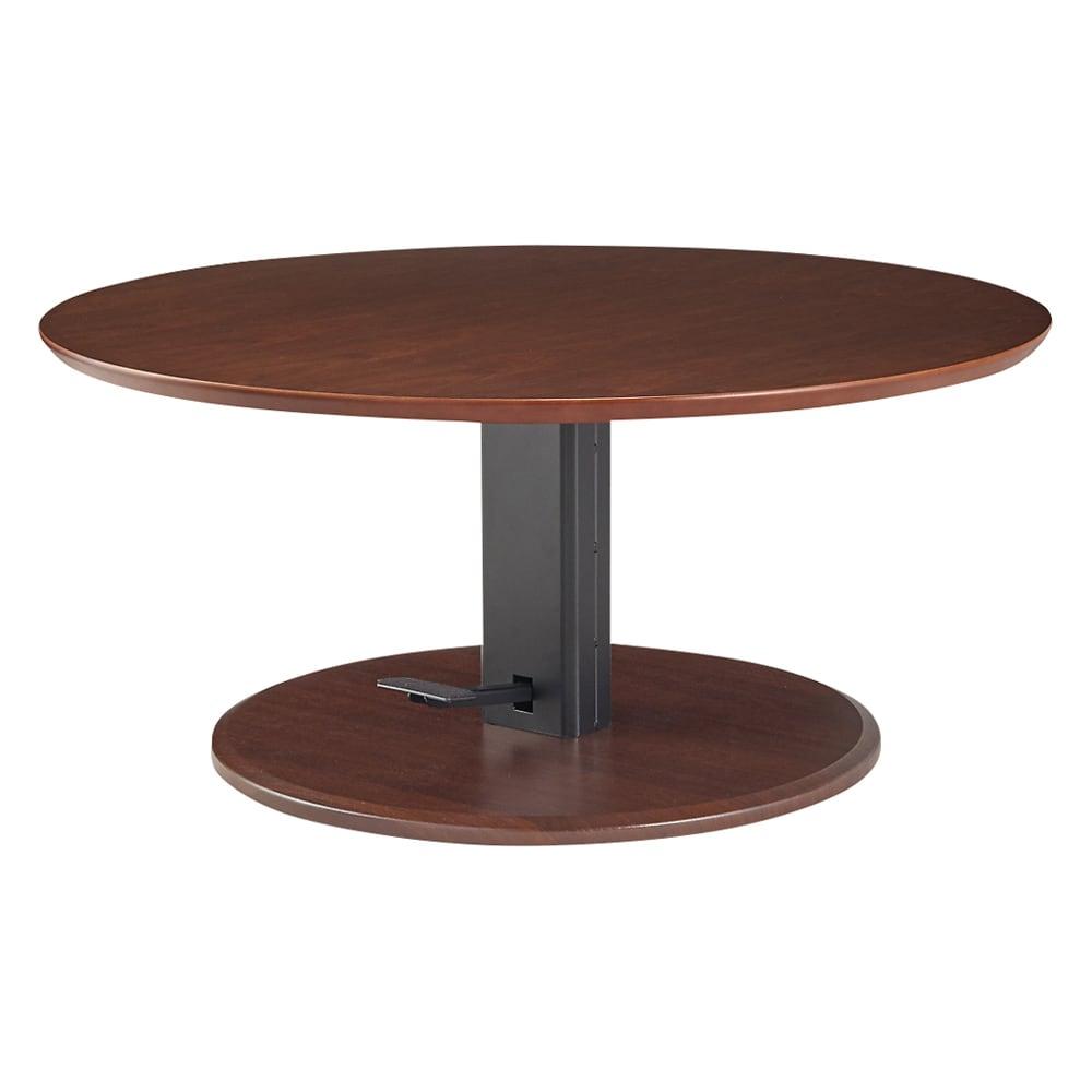 高さ自由自在!カフェスタイルダイニング 丸形昇降テーブル単品・径90cm ダークブラウン テーブル高さ50センチの状態