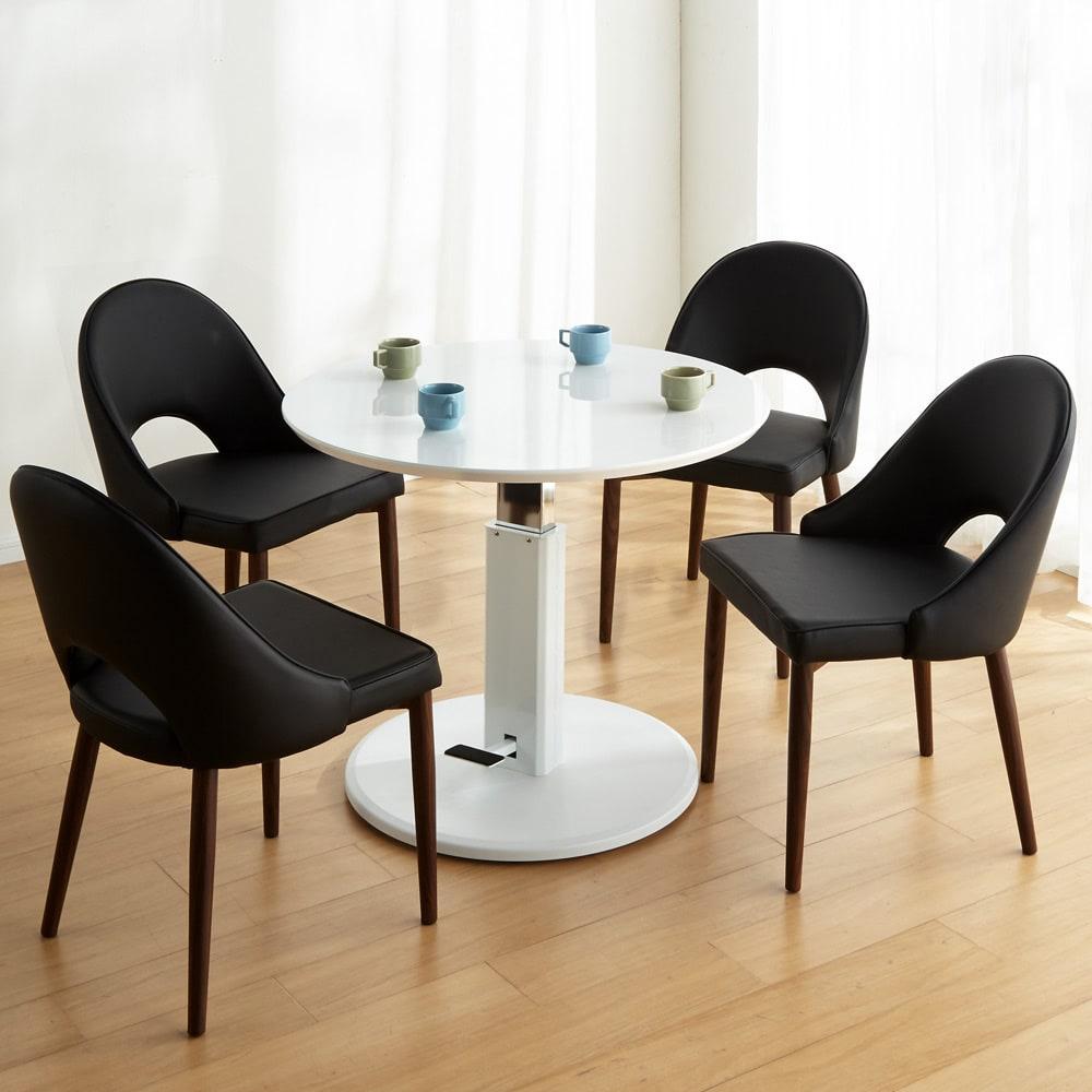 高さ自由自在!カフェスタイルダイニング 3点セット(丸形昇降テーブル径110cm+ラウンジチェア×2) ホワイト コーディネート例(エ)(座部)ブラック・(脚部)ダークブラウン ※写真は5点セットです。