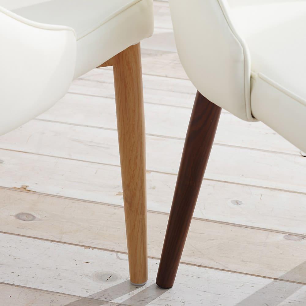 高さ自由自在!カフェスタイルダイニング 3点セット(丸形昇降テーブル径110cm+ラウンジチェア×2) ホワイト 脚部はスチール製。木目プリントを施しており見た目に美しく、頑丈な仕様です。