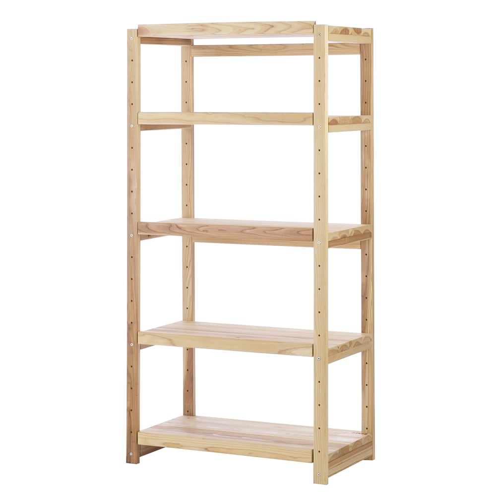 国産杉の無垢材キッチン収納 パントリーキッチンラック 幅89cm奥行51cm こだわりの国産杉を使用した、家電収納にも本棚にも使える壁面収納です。