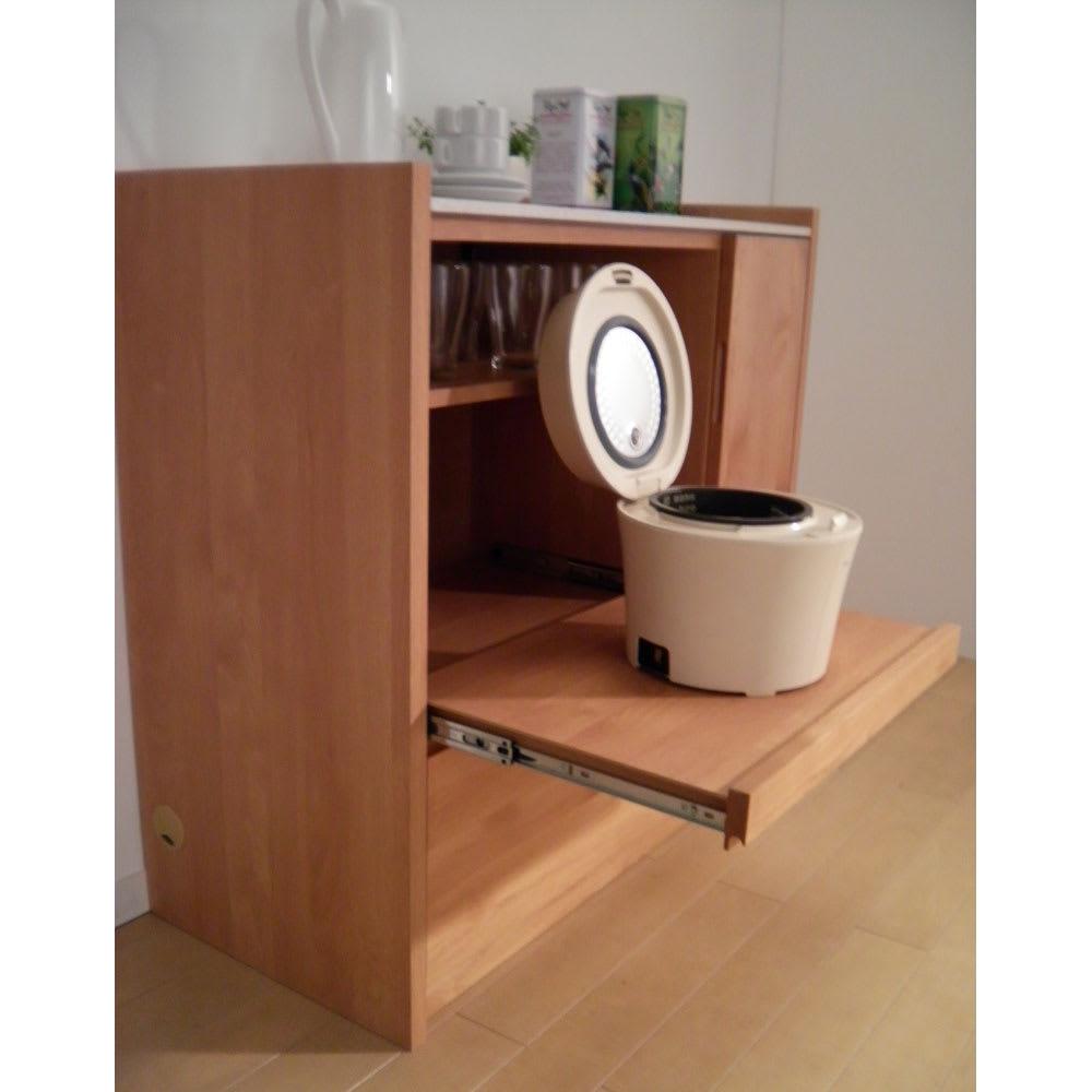 アルダー天然木人工大理石トップ 間仕切り家電収納キッチンカウンター 幅90cm 炊飯器なども使いやすいスライドテーブル。 ■スライドテーブルは36cm前方へ