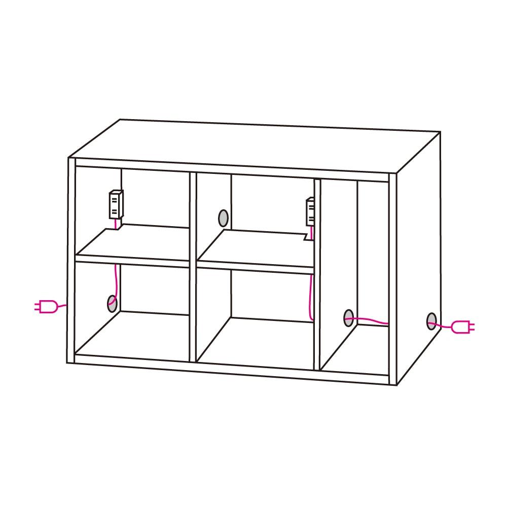 アルダー天然木人工大理石トップ 間仕切り家電収納キッチンカウンター 幅144cm 電源コードはスライドテーブルの下を通してサイドのコード穴から出せます。両サイドにあるので設置場所に応じた配線が可能です。