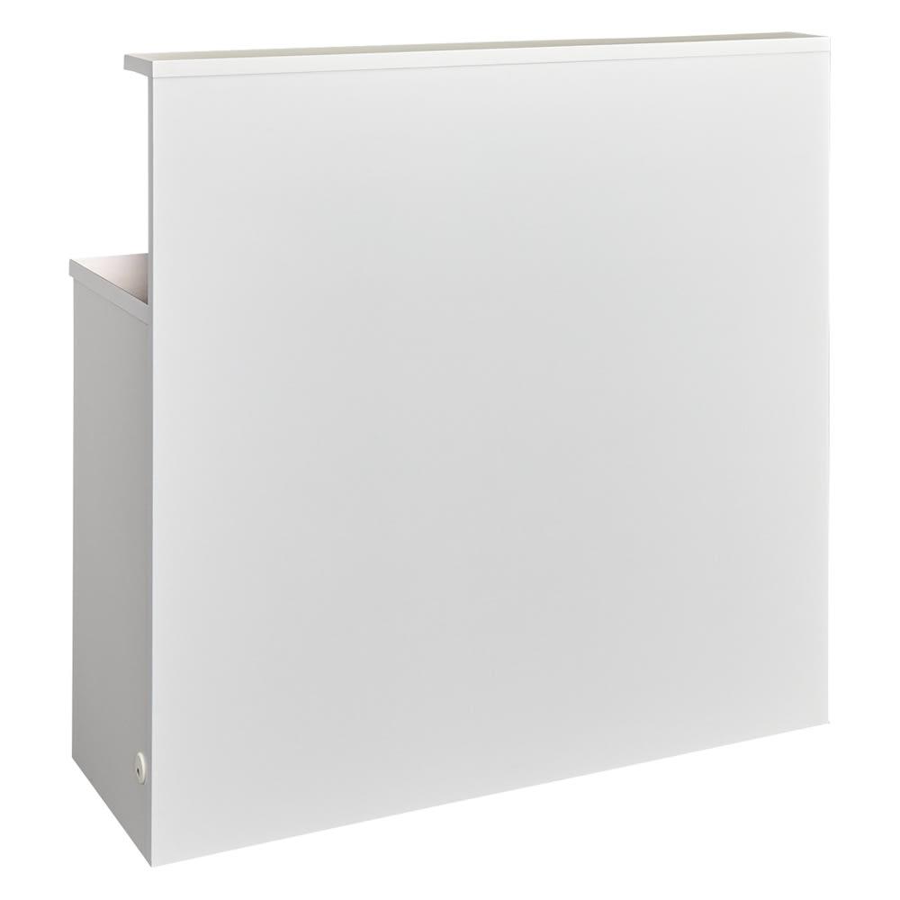 手元が隠せる間仕切りカウンター 幅120cm (ア)ホワイト背面 背面はフラットなパネル貼り仕様です。
