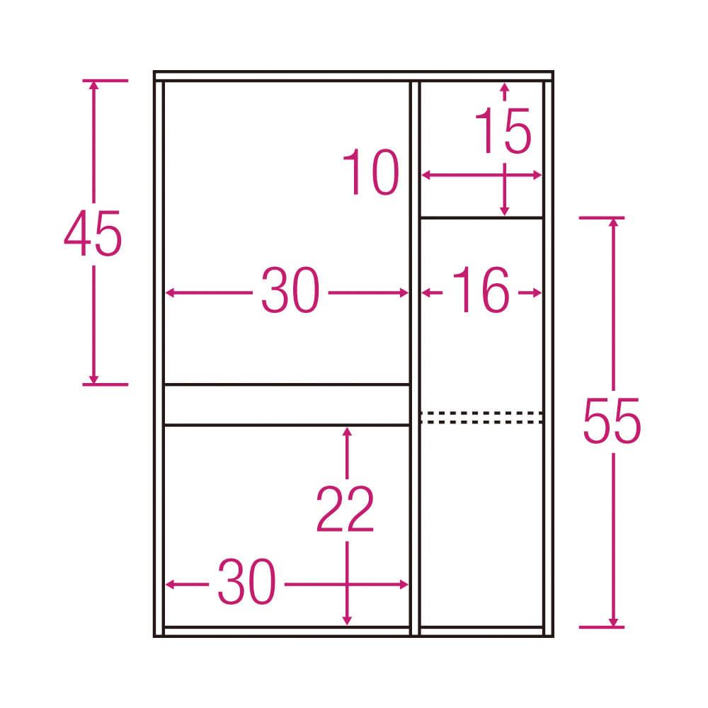 サイズが選べる家電収納キッチンカウンター ロータイプ 幅60cm 内寸図(単位:cm)