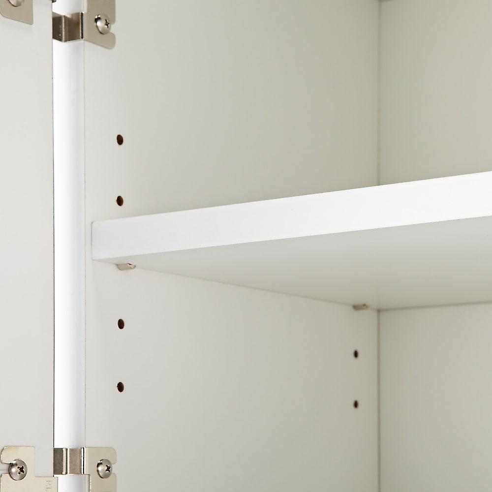 キッチン通路をキレイにする!下オープンダイニングシリーズ レンジボード・幅90cm高さ175cm 可動棚板は差し込み式ダボにて固定します。