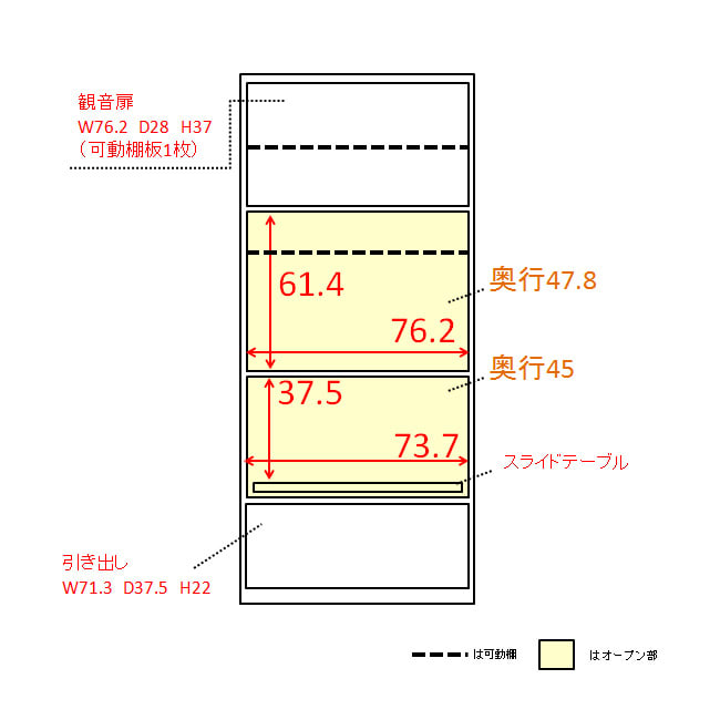 大型レンジが置ける家電収納庫 2段レンジラック・幅80cm 内寸図(単位:cm)