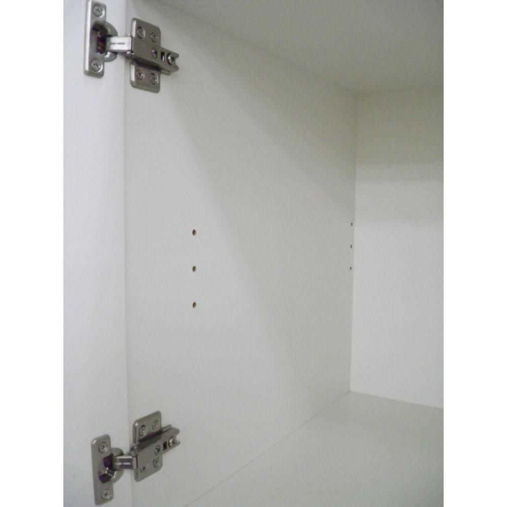 組立不要!家電を隠せるキッチン収納シリーズ レンジラック幅59.5cm 可動棚は3段階での調節が可能です。