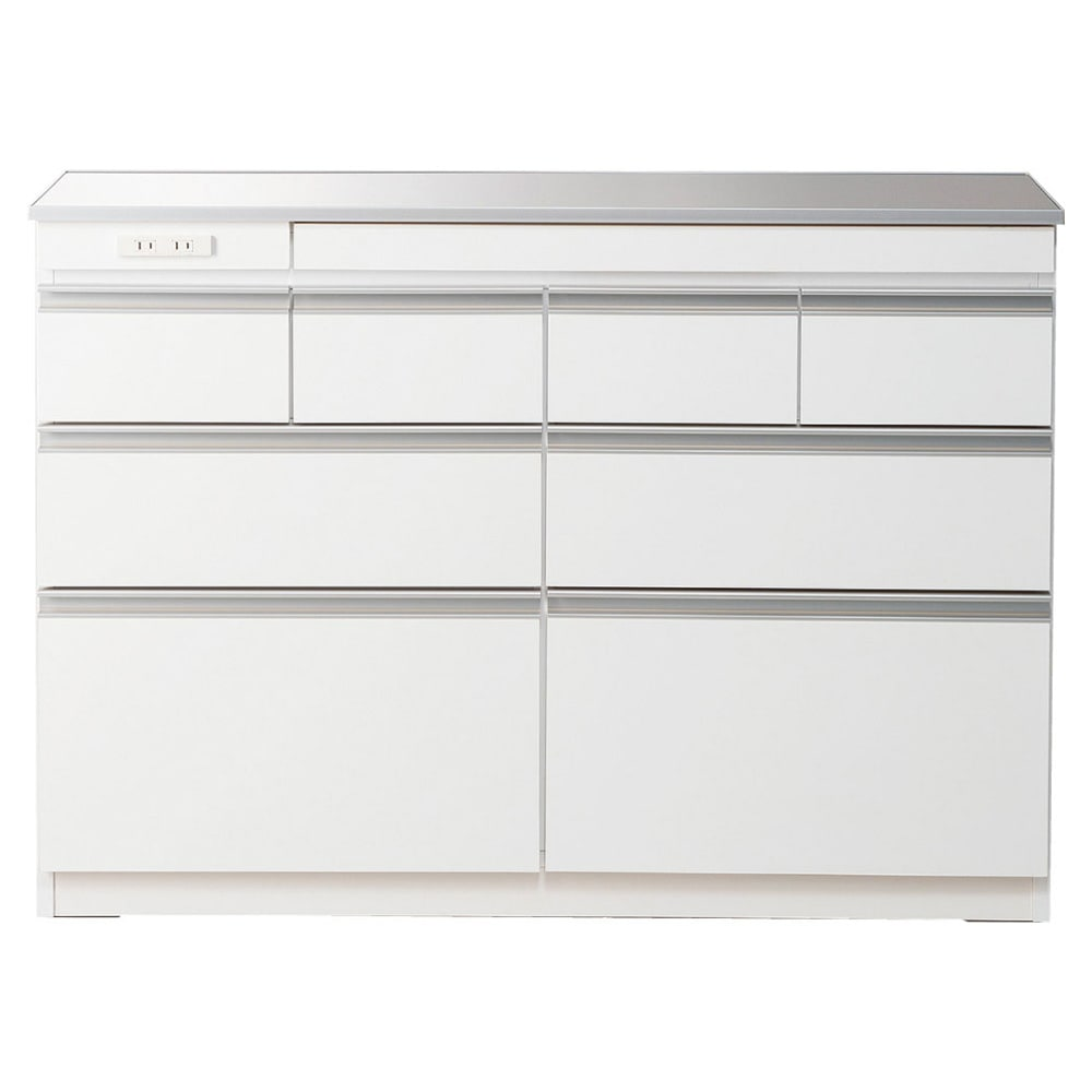 薄型ステンレス天板カウンター 幅120cm (イ)ホワイト ※お届けする商品です。