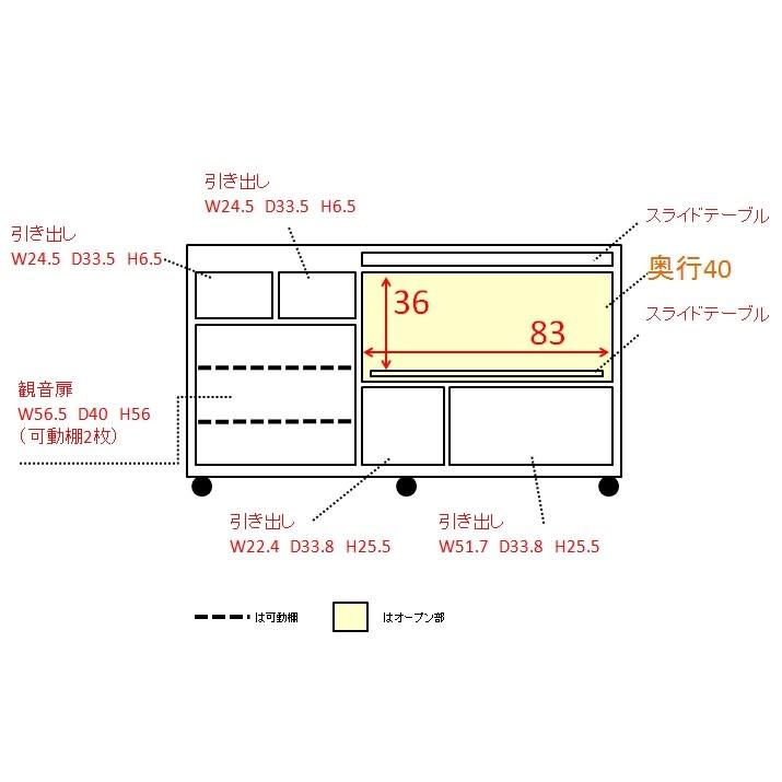 家電たっぷり収納ステンレス天板カウンター 幅149.5cm 内寸図(単位:cm)