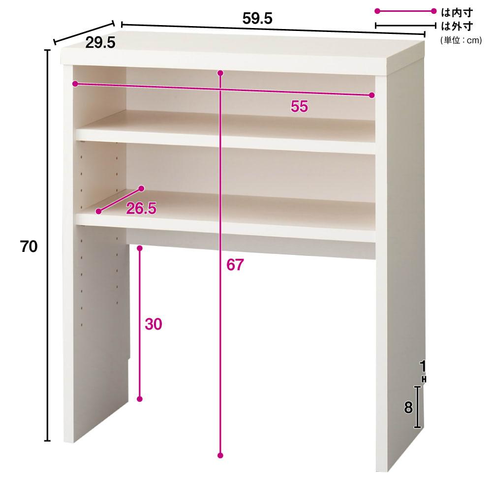 引き戸カウンター下収納庫 奥行29.5高さ70cmタイプ オープンラック・幅59.5cm 可動収納棚板2枚付き  バックボードは床から30cmの位置で止めており、その分の空間高さで設置した壁にコンセント口があった場合でも利用できる設計です。
