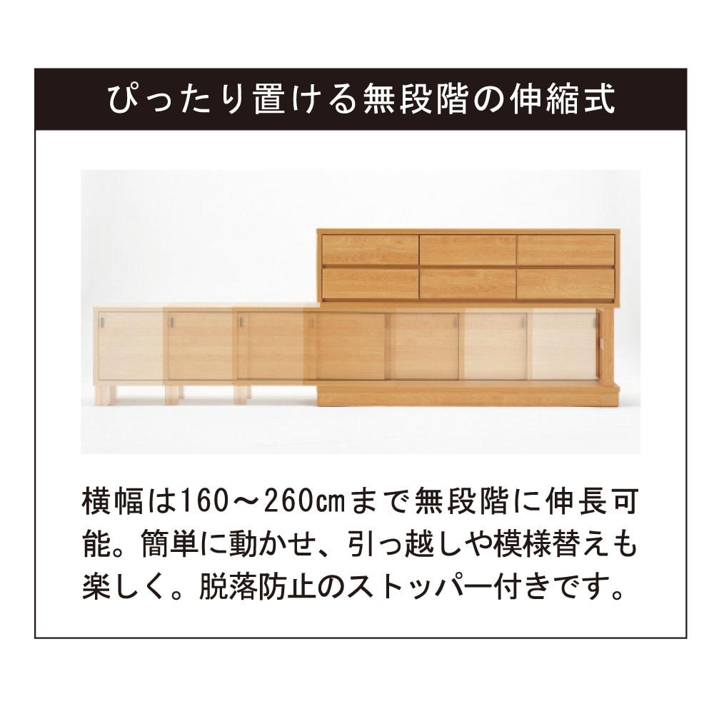伸長式カウンター下収納庫 幅160~260cm 横幅が調節可能