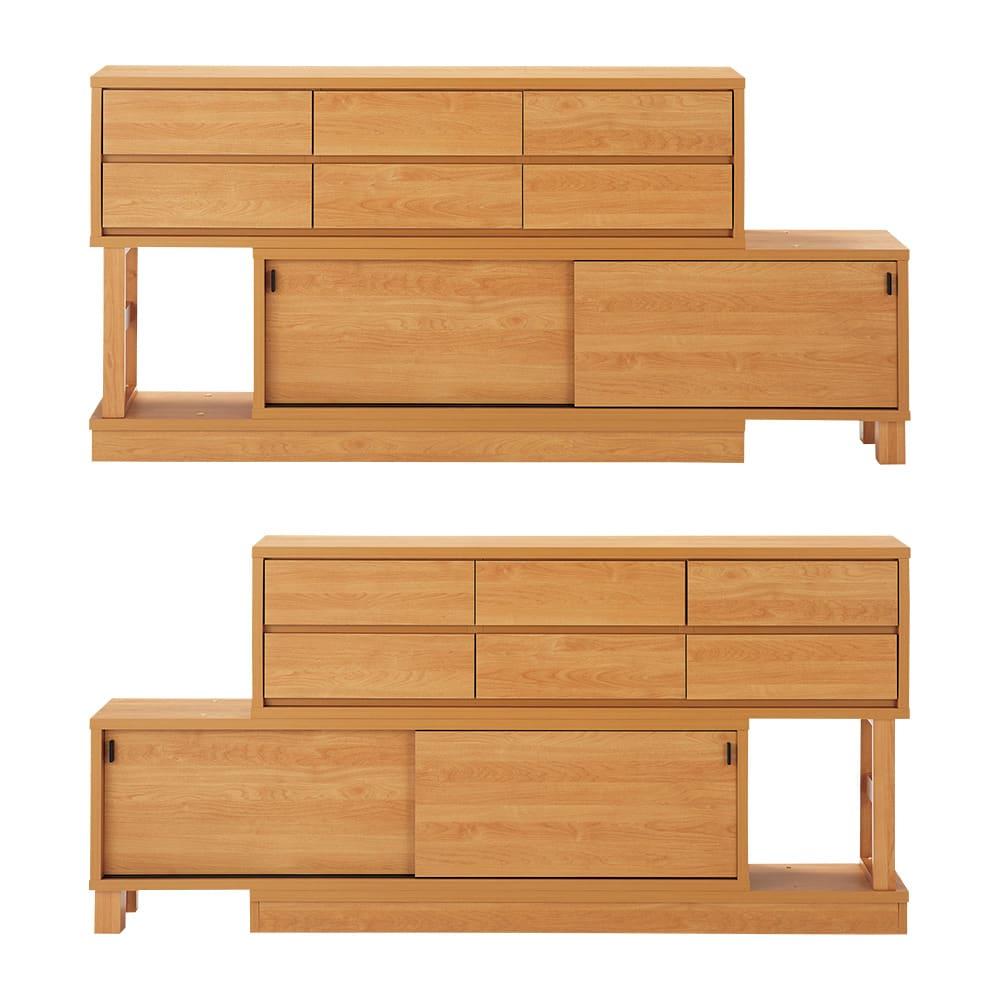 伸長式カウンター下収納庫 幅160~260cm 好みに合わせて左右の組み替えができて、模様替えも楽しめます。