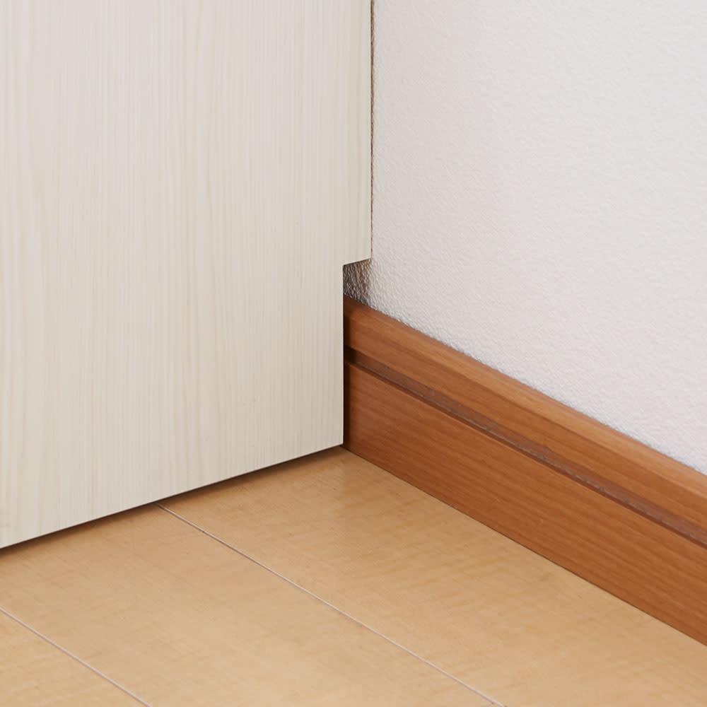 スクエア光沢木目カウンター下収納 3列6マス 幅118cm奥行29cm 幅木よけ7.5×1.5cm