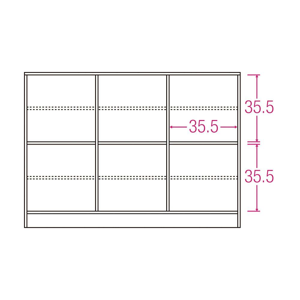 スクエア光沢木目カウンター下収納 3列6マス 幅118cm奥行29cm 内寸図(単位:cm)