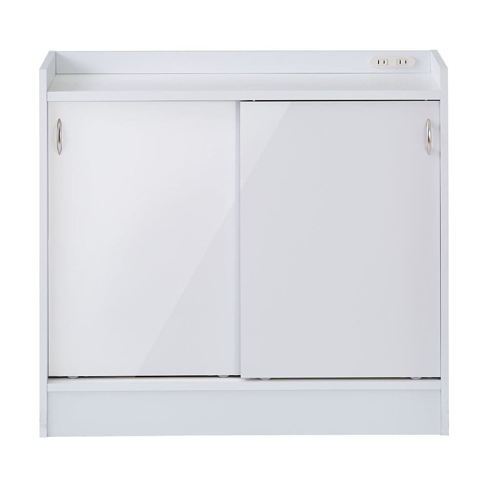 コンセント付き引き戸カウンター下収納庫 幅89cm奥行35cm (ア)ホワイト 美しい光沢の白色で清潔感のある空間に。
