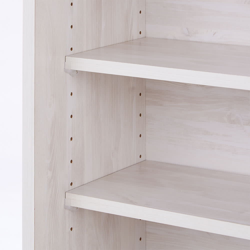 ヴィンテージ調ホワイト木目カウンター下収納庫 幅120cm高さ90cm 収納棚は収納物に合わせて3cm間隔で高さを調整できます。