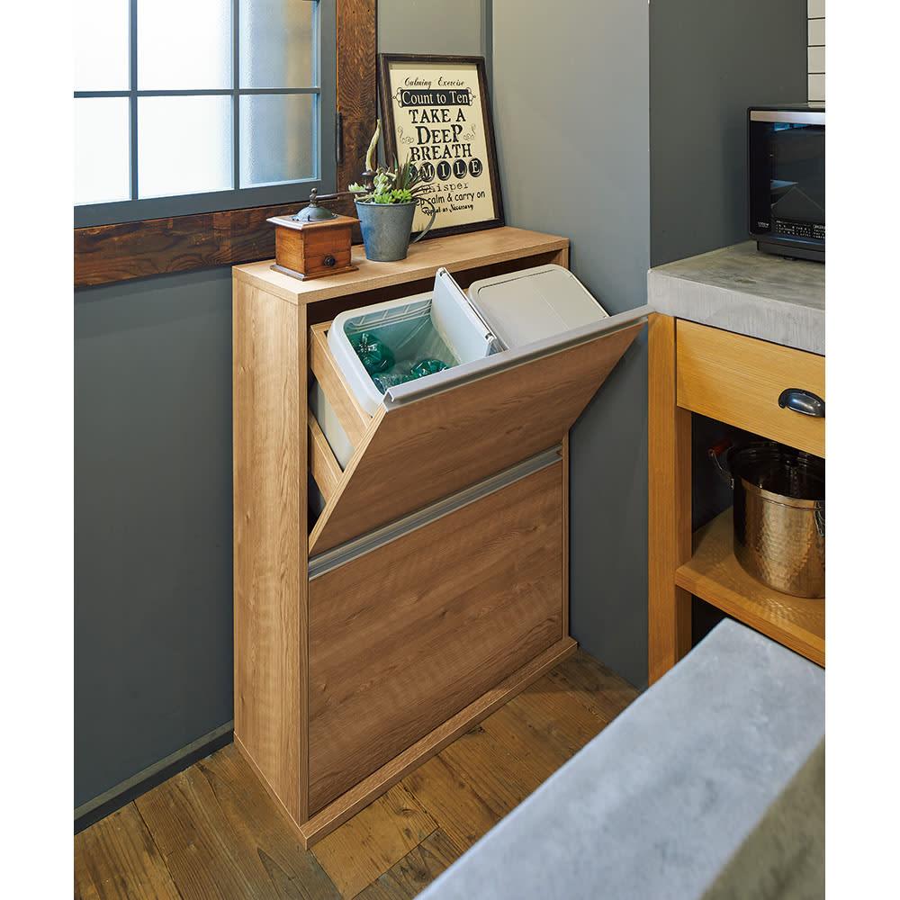 ゆっくり閉まる家具調ダストボックス 2分別 幅39.5cm 色見本(イ)ブラウン 奥行28cmだから狭いキッチンにもすっきり! ※写真は4分別 幅71cmタイプです。