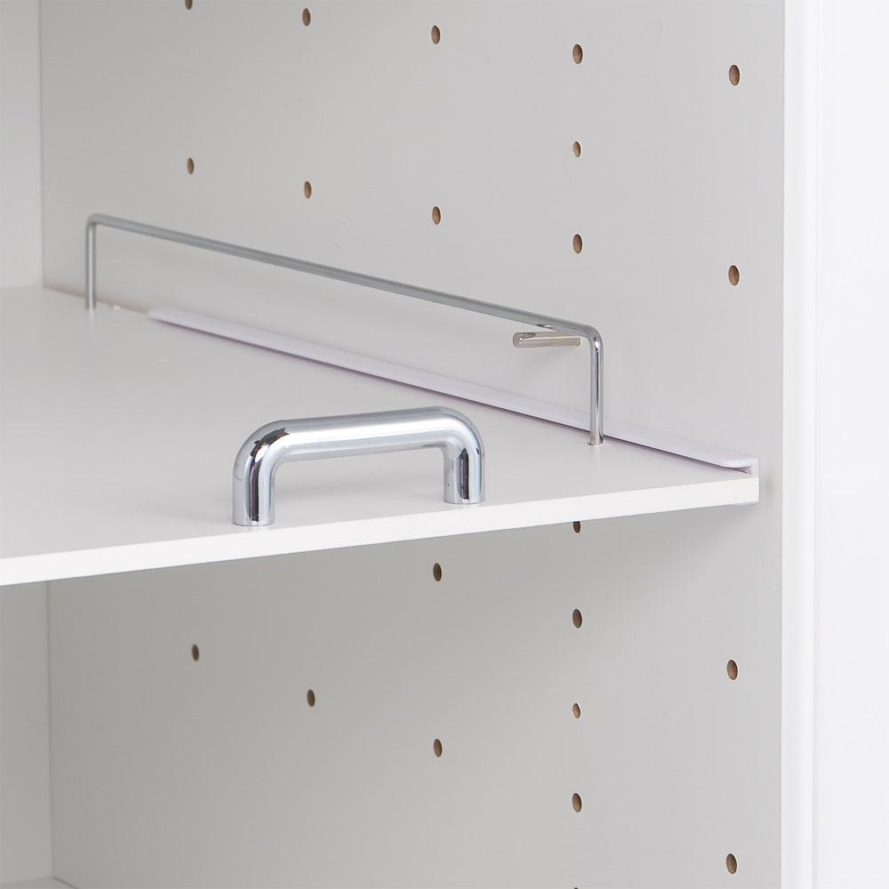上品な清潔感のあるアクリル扉のキッチンすき間収納 幅20cm・奥行44.5cm 棚板は6cmピッチ10段階調節可能。収納したい物に合わせて設定できます。