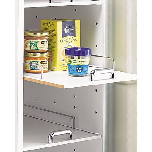 上品な清潔感のあるアクリル扉のキッチンすき間収納 幅30cm・奥行44.5cm 奥のものも取り出しやすい スライド棚を採用。ストッパー付きです。