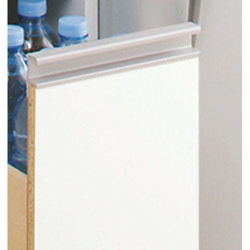 上品な清潔感のあるアクリル扉のキッチンすき間収納 幅30cm・奥行44.5cm 前面はお手入れがラクなポリエステル化粧合板光沢仕上げ。 汚れやすいキッチンではサッと拭けてお手入れラクラク。