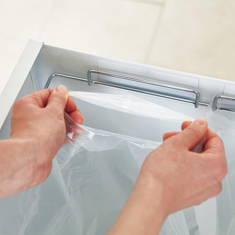 わずかな隙間に収まる ダストワゴン 付き すき間 キッチンラック ロー(作業台)タイプ 高さ85cm 幅30cm レジ袋を掛けて使用。1~2分別に対応します。