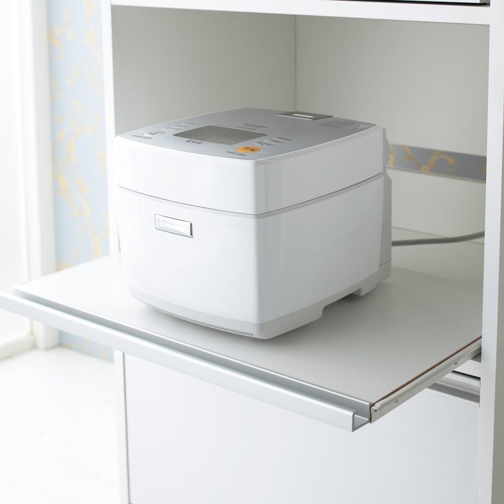 奥行スリム 幅が選べる 省スペース家電収納庫 幅30cm 炊飯器やポットの蒸気を逃がせるスライドテーブルが3段あります。