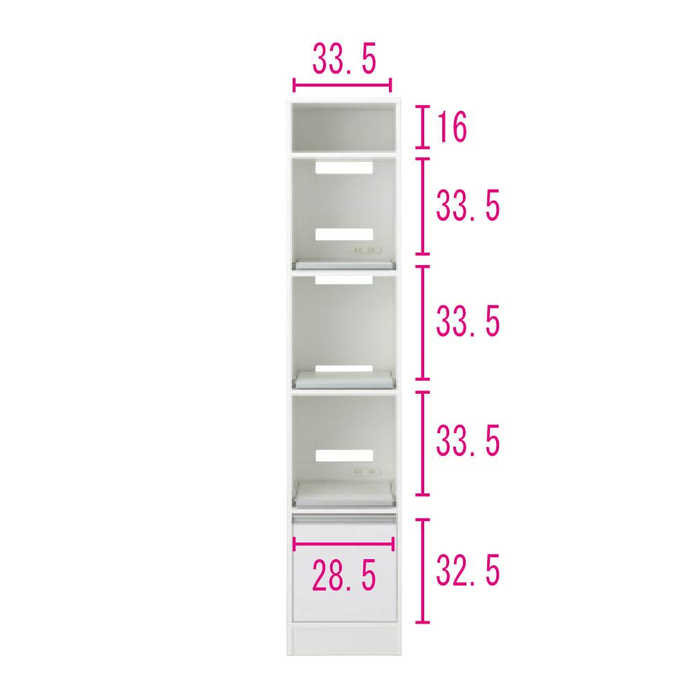 奥行スリム 幅が選べる 省スペース家電収納庫  幅37.5cm ※内寸図 コンセントはスライドテーブルの上段・下段についています。
