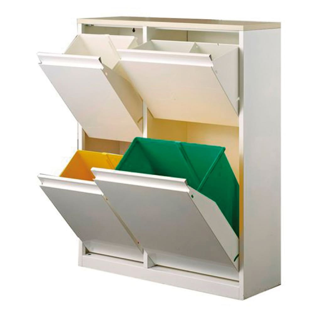 カラフルなペールでわかりやすく分別できる スチール製ダストボックス 幅72cm 高さ95cm (ア)ホワイト ペール小2個 大1個