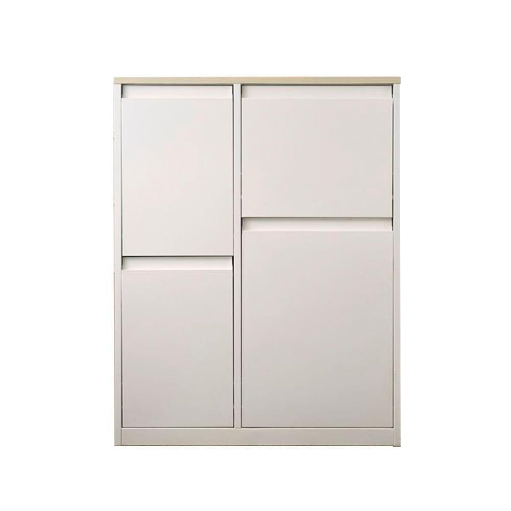カラフルなペールでわかりやすく分別できる スチール製ダストボックス 幅72cm 高さ95cm (ア)ホワイト