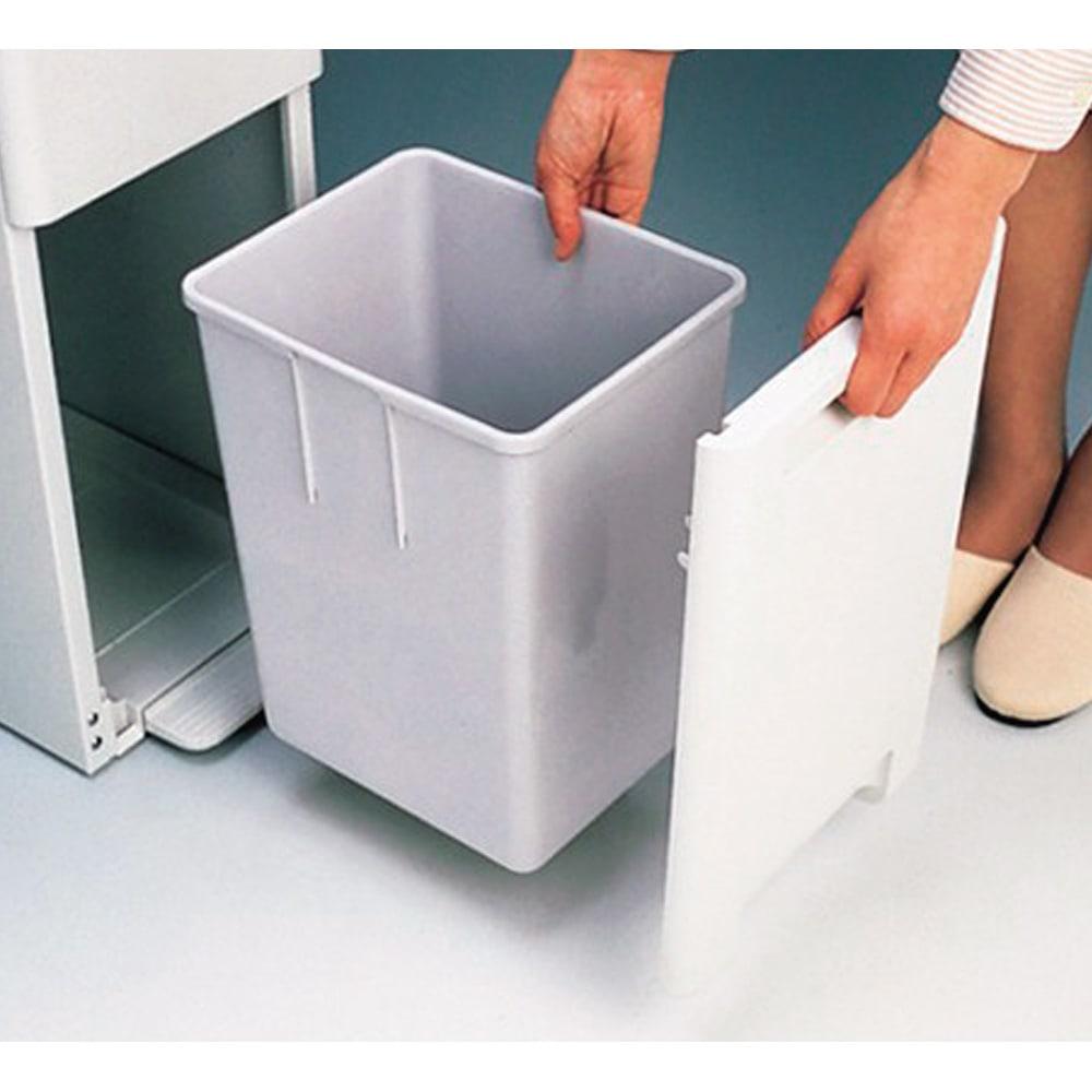 キッチンすき間収納 ダストボックス 2分別ペダル付き 扉もペールも取り外せて洗えます。