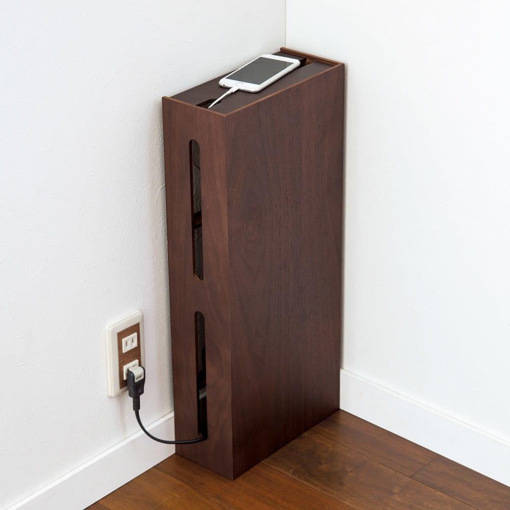 大型タイプ対応スリムルーター収納 (奥行12cm) 奥行きは共通で12cm。壁付けしてもスマートです。 縦型タイプ(イ)ウォールナット×ダークブラウン