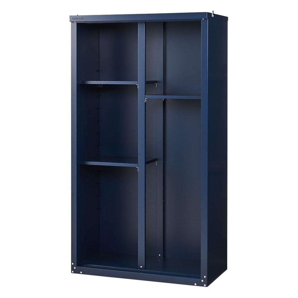 【日本製】オールネイビー引き戸物置 レギュラーハイタイプ(ハーフ棚) (扉を外した状態)