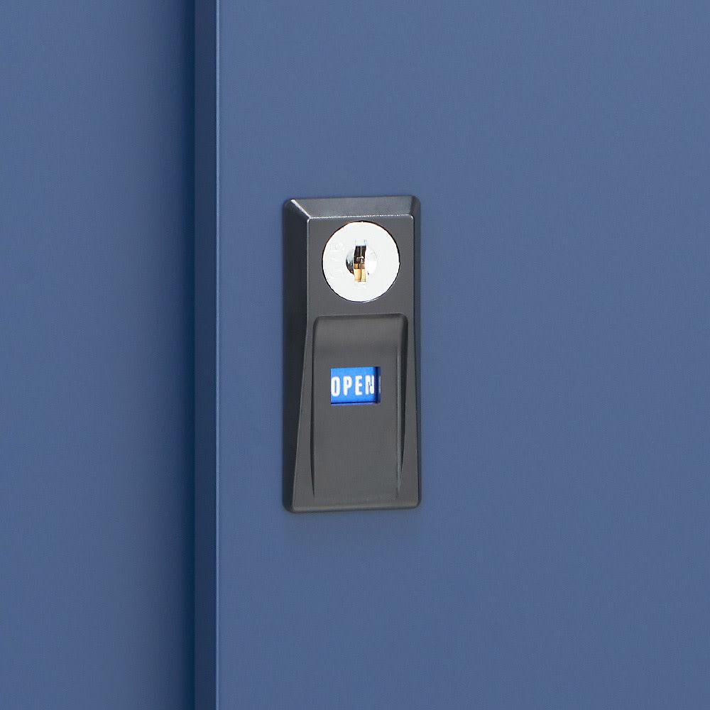 【日本製】オールネイビー引き戸物置 レギュラーハイタイプ(ハーフ棚) 鍵付きで防犯面も安心です。