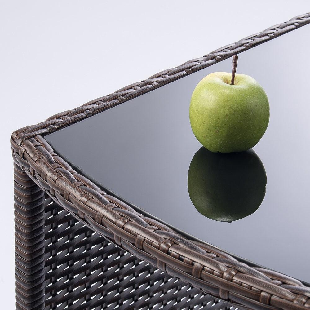 ラタン調コンパクトテーブル 3点セット 美しいガラス天板