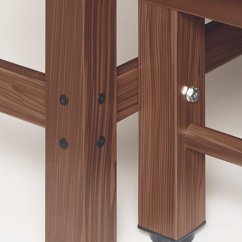 木目調アルミデッキ縁台 ステップ踏み台 連結部分 デッキの連結は専用ボルトで固定できます。