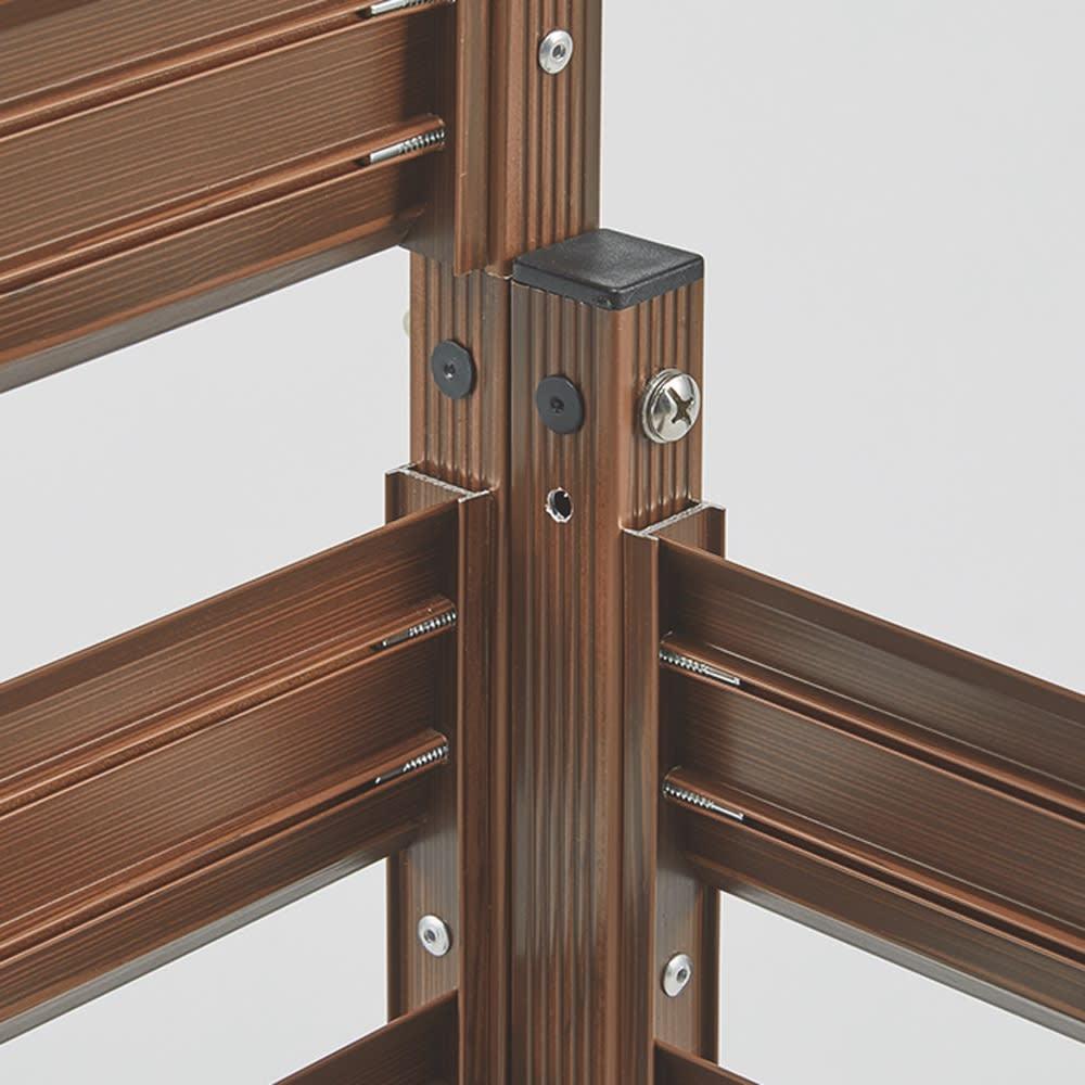 簡単リフォーム 木目調アルミボーダーフェンス お得な2枚組 ハイタイプ 幅90高さ149cm フェンス同士を付属部品で連結、直線にもL字型にも対応。