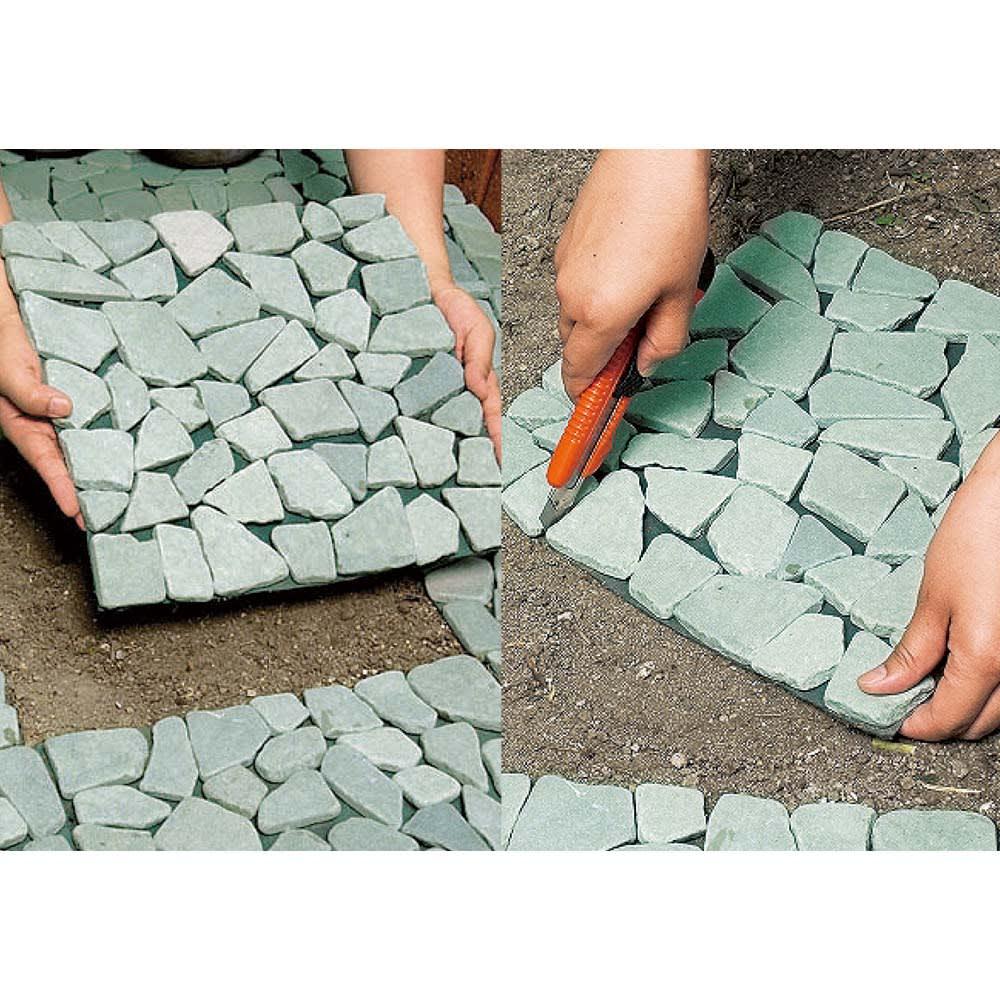雑草が生えない天然石マット 同色12枚組 簡単・手軽に美しく雑草防止。 敷き詰めるだけなので女性でも簡単。カッターでカットして、設置するスペースに大きさを合わせられます。