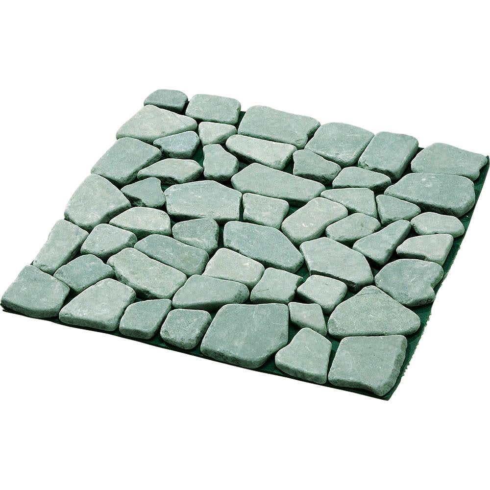 雑草が生えない天然石マット 同色12枚組 (イ)グリーン系