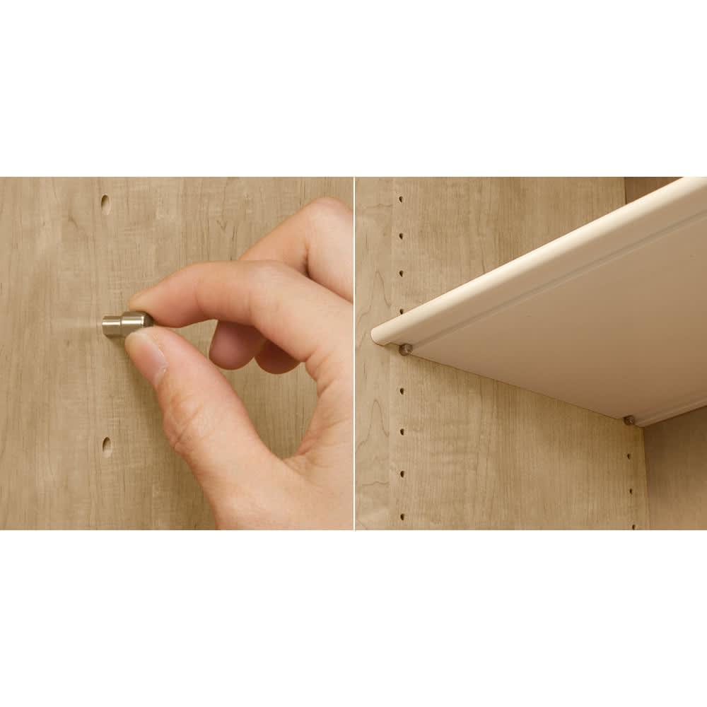 並べても使える 突っ張り式ユニットシューズボックス 天井高さ214~224cm用・幅80cm[紳士靴対応] (写真左)棚板を支えるダボは、差し込み式ダボです。(写真右)棚板は約3cmピッチ間隔調節です。