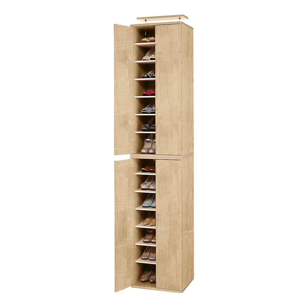 並べても使える 突っ張り式ユニットシューズボックス 天井高さ234~244cm用・幅45cm[紳士靴対応] (イ)ライトブラウン