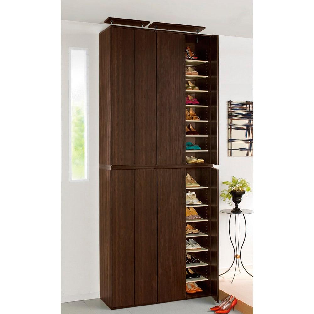 並べても使える 突っ張り式ユニットシューズボックス 天井高さ244~254cm用・幅80cm[紳士靴対応] (イ)ライトブラウン色見本 可動棚板は全部で12枚です。