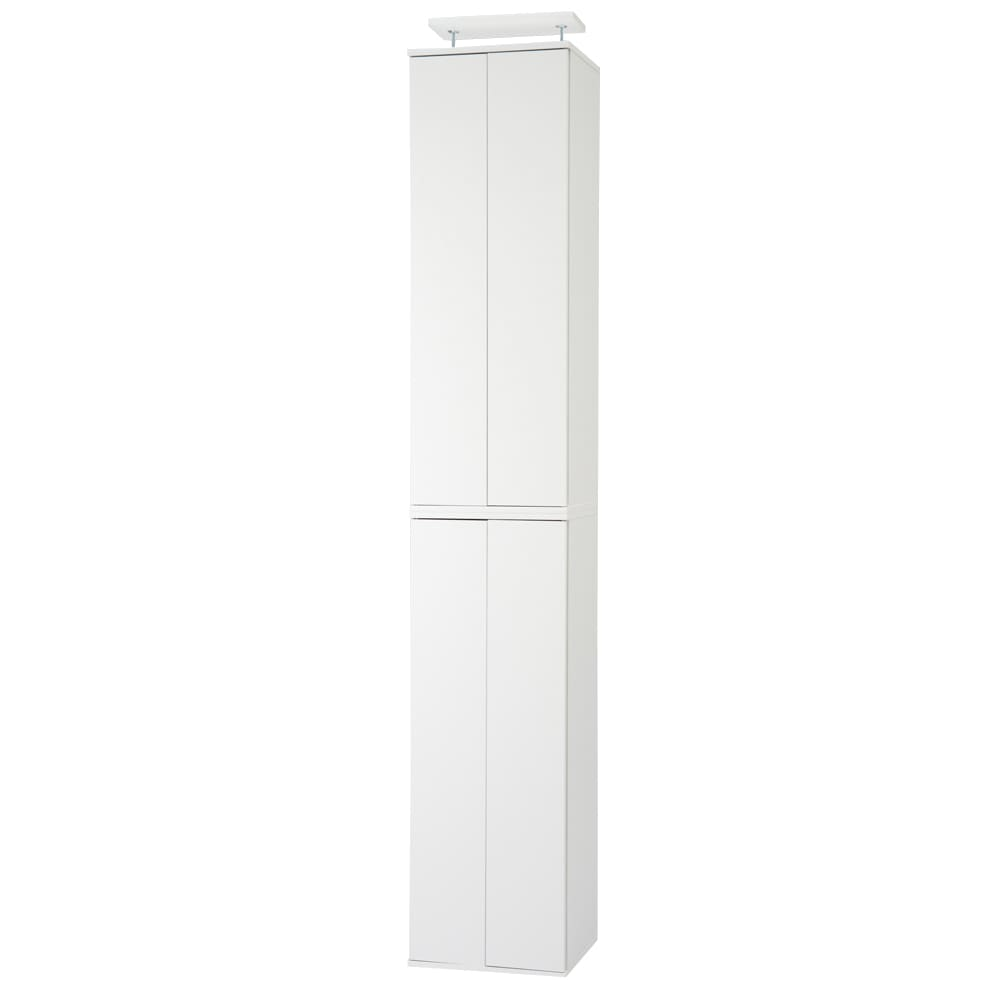 並べても使える 突っ張り式ユニットシューズボックス 天井高さ254~264cm用・幅45cm[紳士靴対応] (ウ)ホワイト
