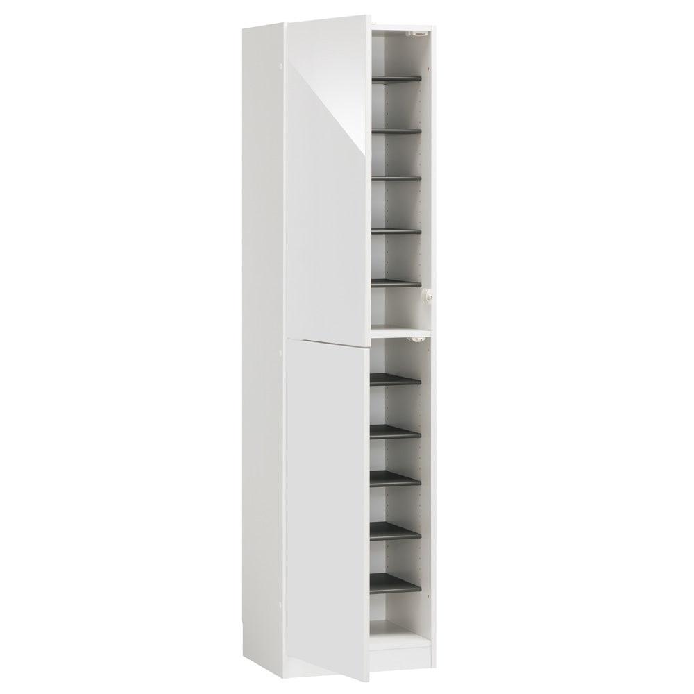 インテリアに合わせて8色&13タイプから選べるシューズボックス 扉 幅45高さ180.5cm(左開き) (ア)ホワイト